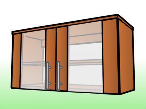 Anaquel para extractor largo con puertas de vidrio for Medidas de anaqueles de cocina