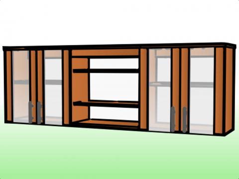 Anaquel triple a b a con puertas de vidrio anaqueles ahora for Medidas de anaqueles de cocina